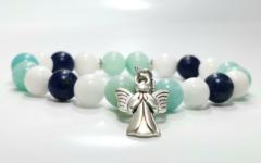 Kép 1/2 - Amazonit, lapis lazuli, tejkvarc női ásvány karkötő angyal medállal