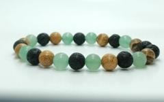 Kép 1/2 - Aventurin, jáspis, mookaite, lávakő, ónix ásvány karkötő