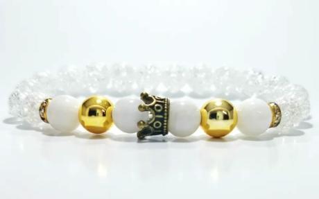 Hematit, tejkvarc, hegyikristály női ásvány karkötő koronával