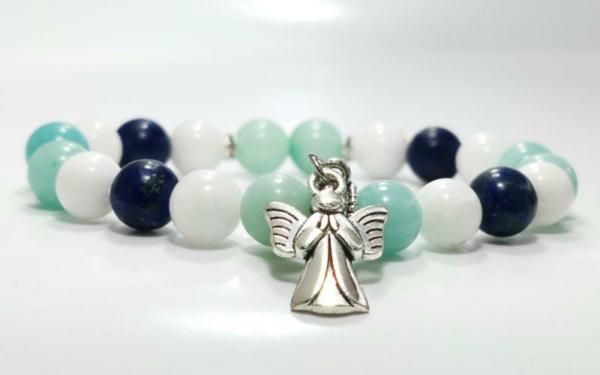 Amazonit, lapis lazuli, tejkvarc női ásvány karkötő angyal medállal