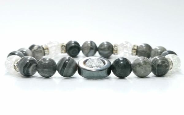 Jáspis, hegyikristály, hematit ásvány karkötő