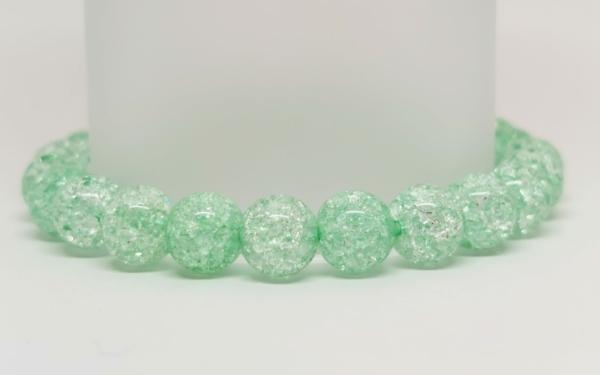 Zöld roppantott hegyikristály ásvány karkötő