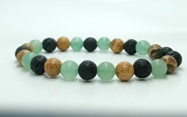 Aventurin, jáspis, mookaite, lávakő, ónix ásvány karkötő